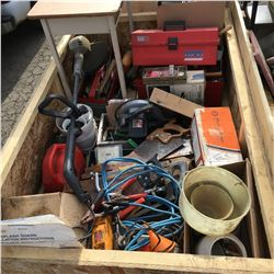 Crate Lot: Large Selection of Shop Tools & Parts (Saws, Booster Cables, Jerry Cans, Nails, Screws, T