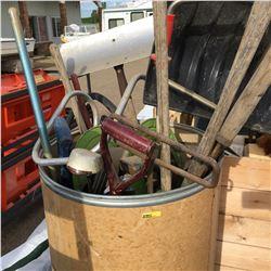 Barrel Full of Long Handled Tools