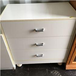 3 Drawer Dresser - Grey Handles (White)