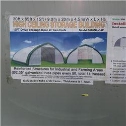 30FT X 65FT X 15FT Peak Ceiling Double Door Storage Building  C/W: commercial fabric, waterproof, UV