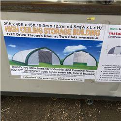30FT X 40FT X 15FT Peak Ceiling Double Door Storage Building  C/W: commercial fabric, waterproof, UV