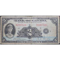 1935 $2 Dollar , BC-3, Bank of Canada banknote