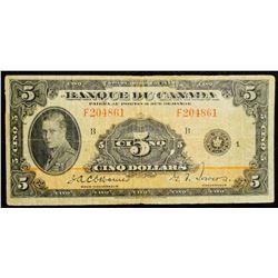 1935 $5 Dollar BC-6, Bank of Canada Banknote 'French' series