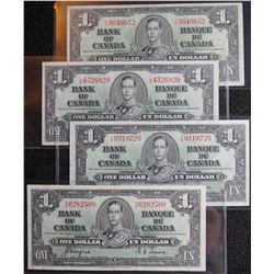 1937 $1 Dollar BC-21d, Bank of Canada banknotes - Lot of 4