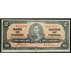 1937 $2 Dollar BC-22c, Bank of Canada Banknote
