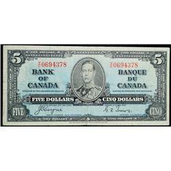 1937 $5 Dollar BC-23c, Bank of Canada Banknote
