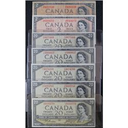 1954 - Devils Face issue - 2 Dollar & 20 Dollar Banknotes