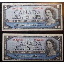 1954 - Devils Face issue - BC-31a & BC-31b - 5 Dollar Banknotes