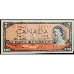 1954 $2 Dollar BC-30b - Bank of Canada 'DB' prefix 'Devils Face'