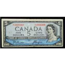 1954 $5 Dollar BC-31b - Bank of Canada 'EC' prefix 'Devils Face'