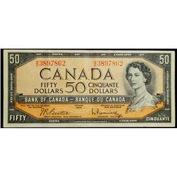 1954 $50 Dollar BC-42b - Bank of Canada 'BH' prefix 'Modified Portrait'