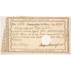 1790 Payment for 10 Shillings, Connecticut