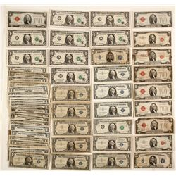 US $1, $2, $5,  Old and Silver Certificates (61)