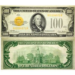 $100 Gold Certificate, Small Size