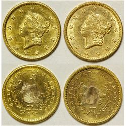 Two Damaged Gold Dollar Coins