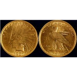 1907 $10 Indian Head Gold Piece