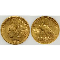 1910 S $10 Indian Head Gold Coin XF