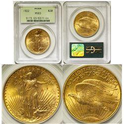 $20 St. Gaudens Gold Piece, 1922 PCGS MS-63