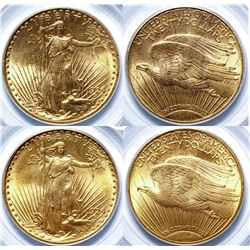 Two $20 St. Gaudens Gold Pieces, 1924 MS-63