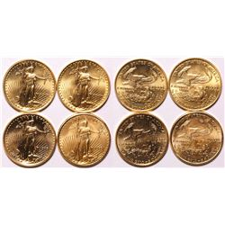 Four American Eagle 1/10th Ounce Gold Pieces
