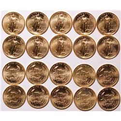 Ten American Eagle 1/10 oz Gold Coins, 1998