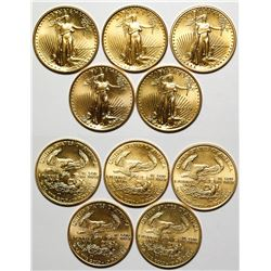 Five American Eagle 1/4 Ounce Gold Pieces