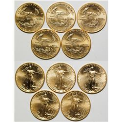 Five American Eagle 1/2 Ounce Gold Pieces