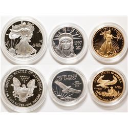 American Eagle 1997 Three Metal Proof Set