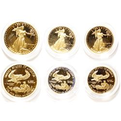 Set of American Eagle Gold Proof Coins: one 1 Tr Oz; two 1/2 Tr Oz