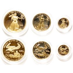 Set of Three American Eagle Gold Proof Coins: 1 Tr Oz; 1/2 Tr Oz; 1/10 Tr Oz