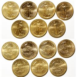 Seven Uncirculated, Half-Ounce $25 Gold American Eagle Coins 1986-1998