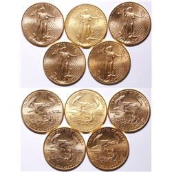 Five American Eagle Gold $50 Coins