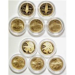 Five U.S. Constitution $5 Gold Pieces
