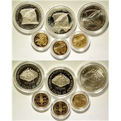 Three U.S. Constitution 2 Coin Sets (Gold & Silver)