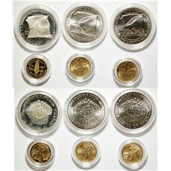 Three U.S. Constitution UNC Silver/Gold Coin Sets