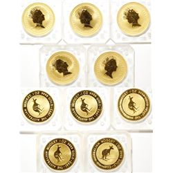 Five One-Ounce 1993 Australian Gold Nugget Coins, Uncirculated