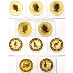 Five One-Ounce Australian Gold Nugget Coins, Uncirculated
