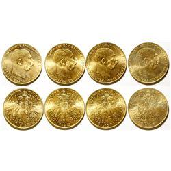 Four Austrian 100 Corona Gold Coins, 1915