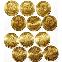 Six Austrian 100 Corona Gold Coins 1915