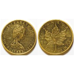1979 $50 Gold Canadian Maple Leaf Coin 999