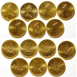 Seven One-Ounce Canadian Gold Maple Leaf Coins, Uncirculated