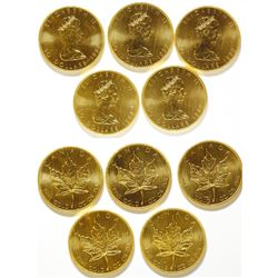 Five One-Ounce 1980 Canadian Gold Maple Leaf Coins, Uncirculated 999