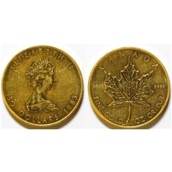 1983 $50 Gold Canadian Maple Leaf coin UNC