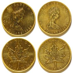 Two 1983 Canadian $50 Gold Maple Leaf