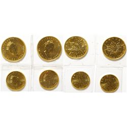 Four 1998 Fractional Canadian Gold Maple Leaf Coins, Uncirculated 9999