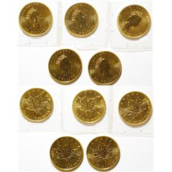 Five Half-Ounce Canadian Gold Maple Leaf Coins, Uncirculated 9999