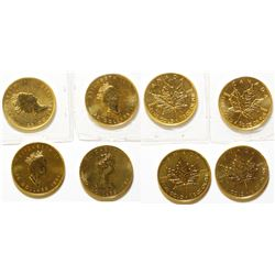 Four Half-Ounce Canadian Gold Maple Leaf Coins Uncirculated
