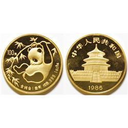 One-Ounce 1985 Chinese Gold Panda Coin, Uncirculated