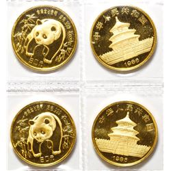 Two 1986 Half-Ounce Gold Panda Coins, Uncirculated