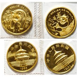 Two half-ounce Chinese Gold Panda Coins